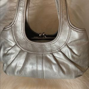 Silver vintage Coach leather tote
